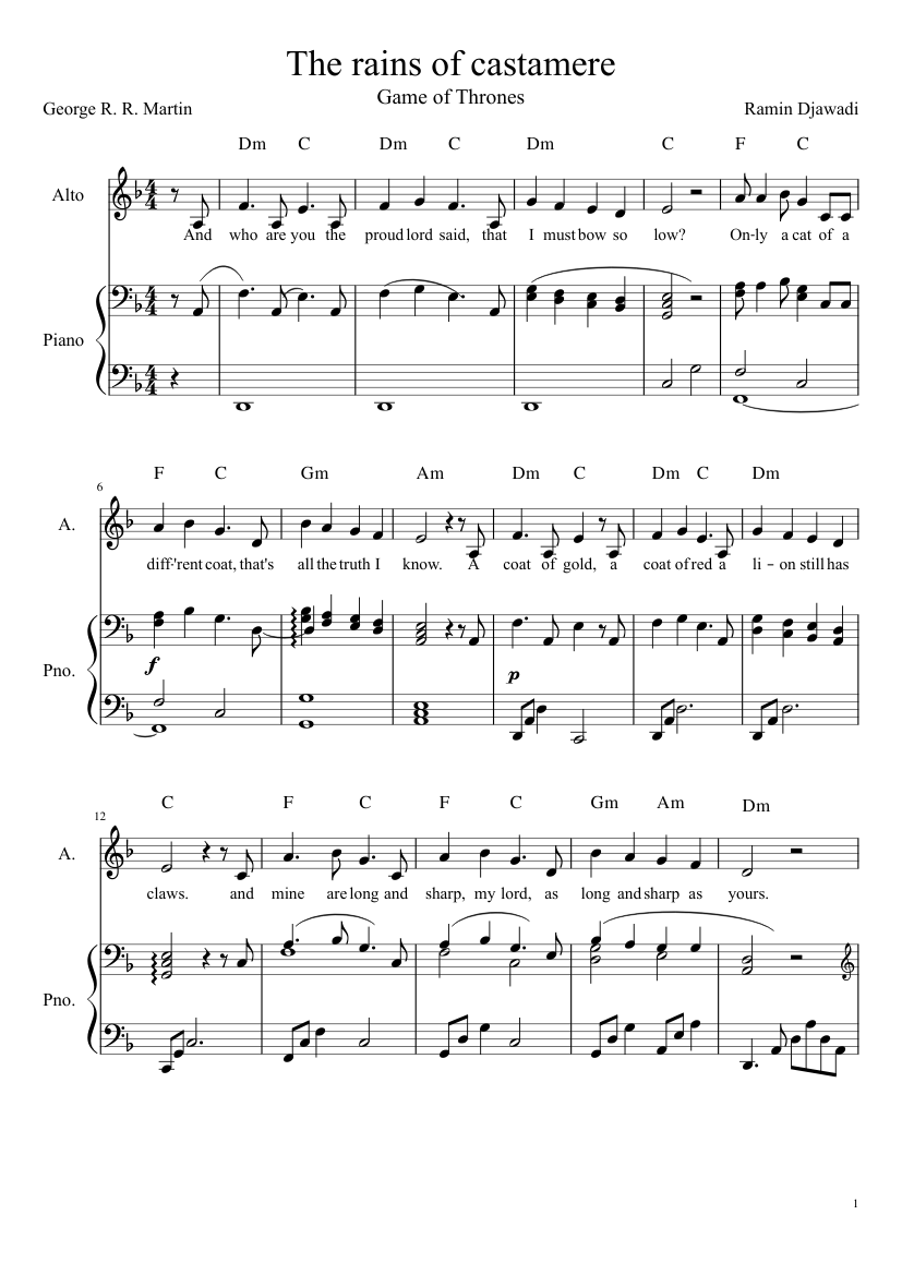 the rains of castamere piano sheet free