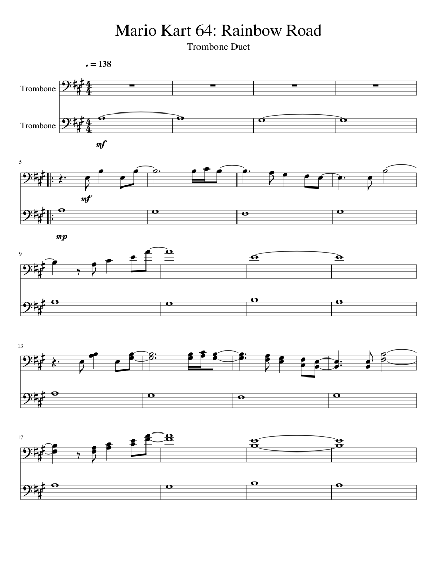 Rainbow road mario kart wii sheet music for violin, piano.