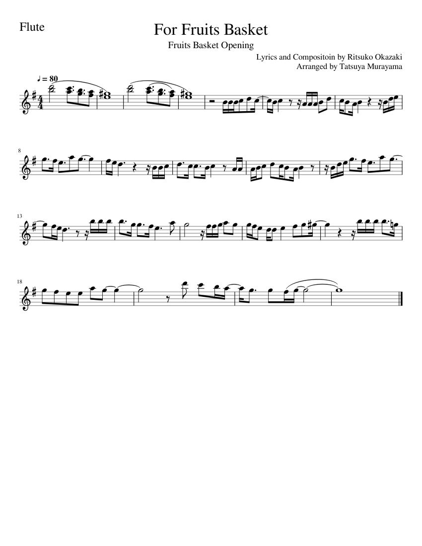 for fruits basket sheet music for flute (solo)   musescore.com  musescore.com