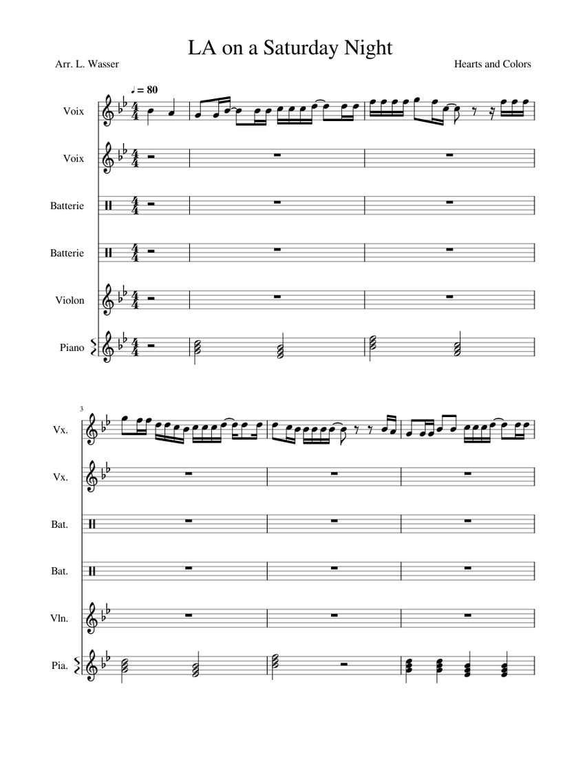 LA on a Saturday Night Sheet music for Piano, Violin, Drum Group ...