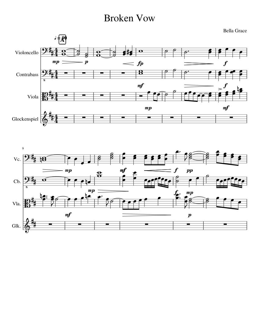 Broken vow sheet music for cello, contrabass, viola, percussion.