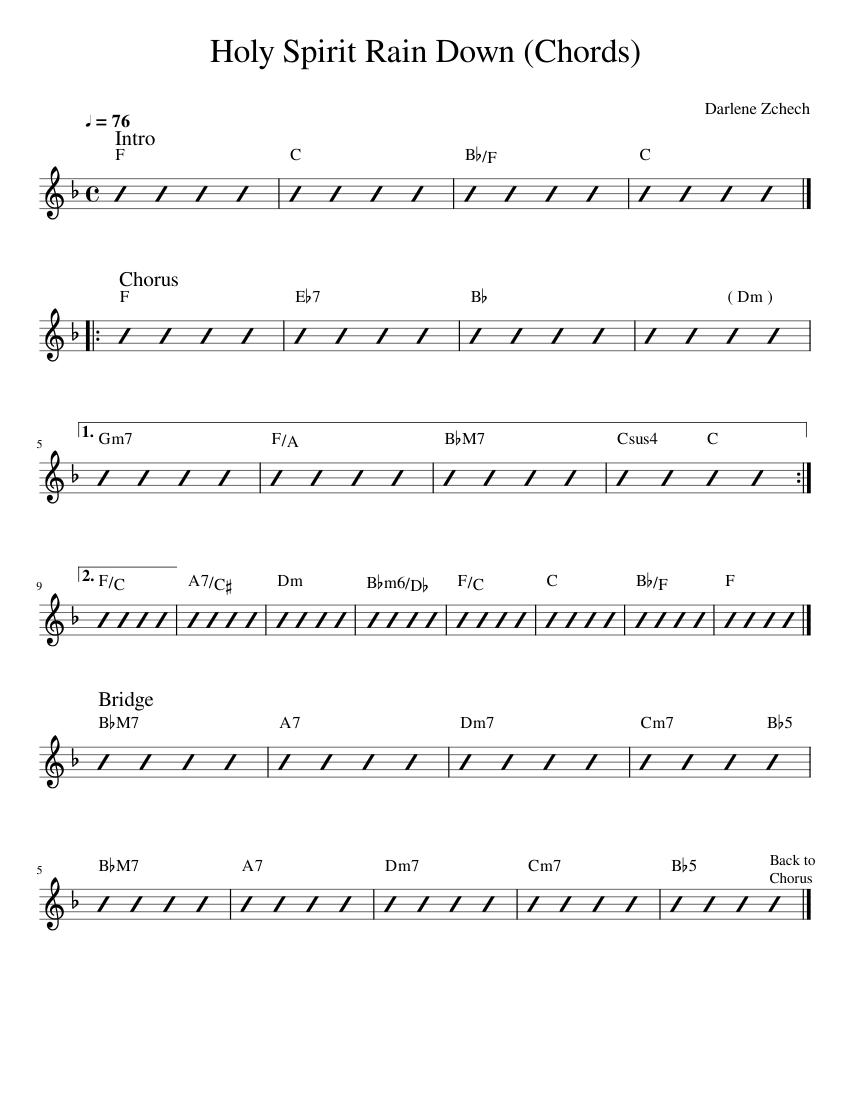 Holy Spirit Rain Down Chords Sheet music for Piano Solo ...