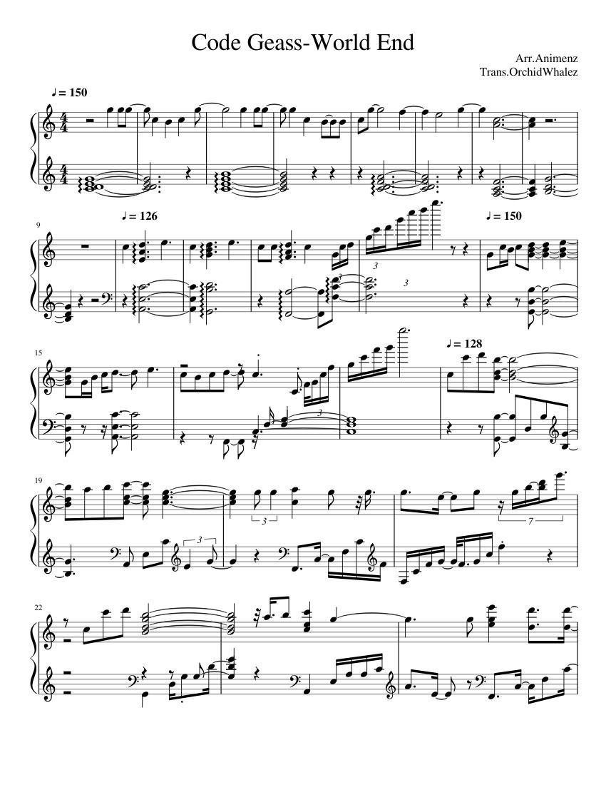 Code Geass R2 Op 2 World End-Animenz(Slight WIP) sheet music
