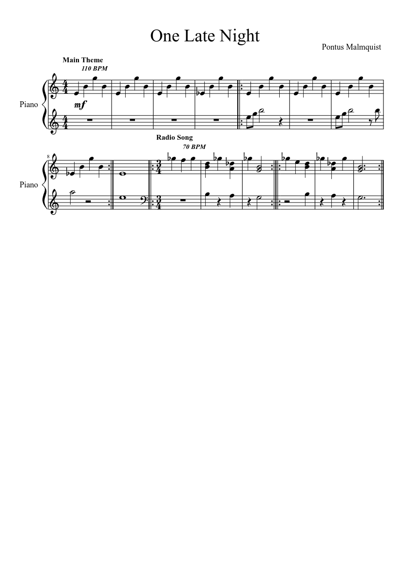 One Late Night Updated Sheet Music Download Free In Pdf Or Midi