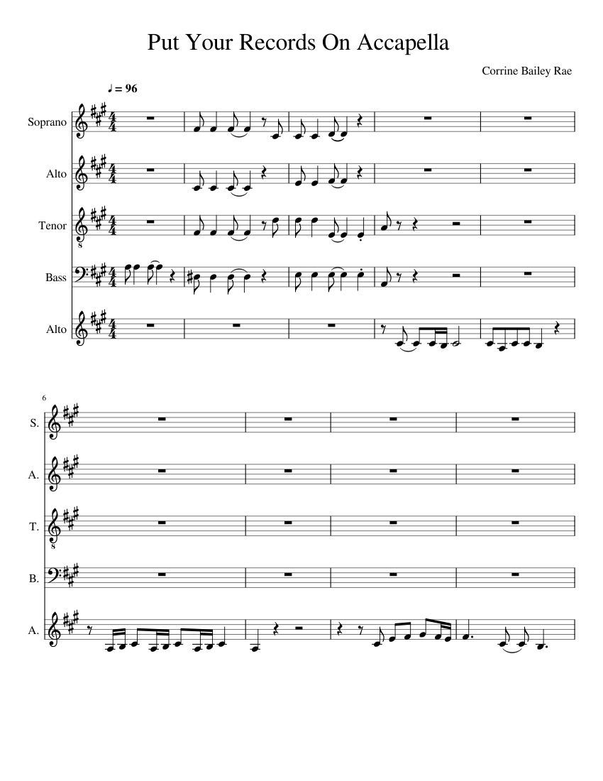 Download put your records on (a cappella) sheet music by corinne.