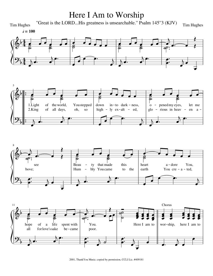Here I Am to Worship Sheet music for Piano Solo   Musescore.com