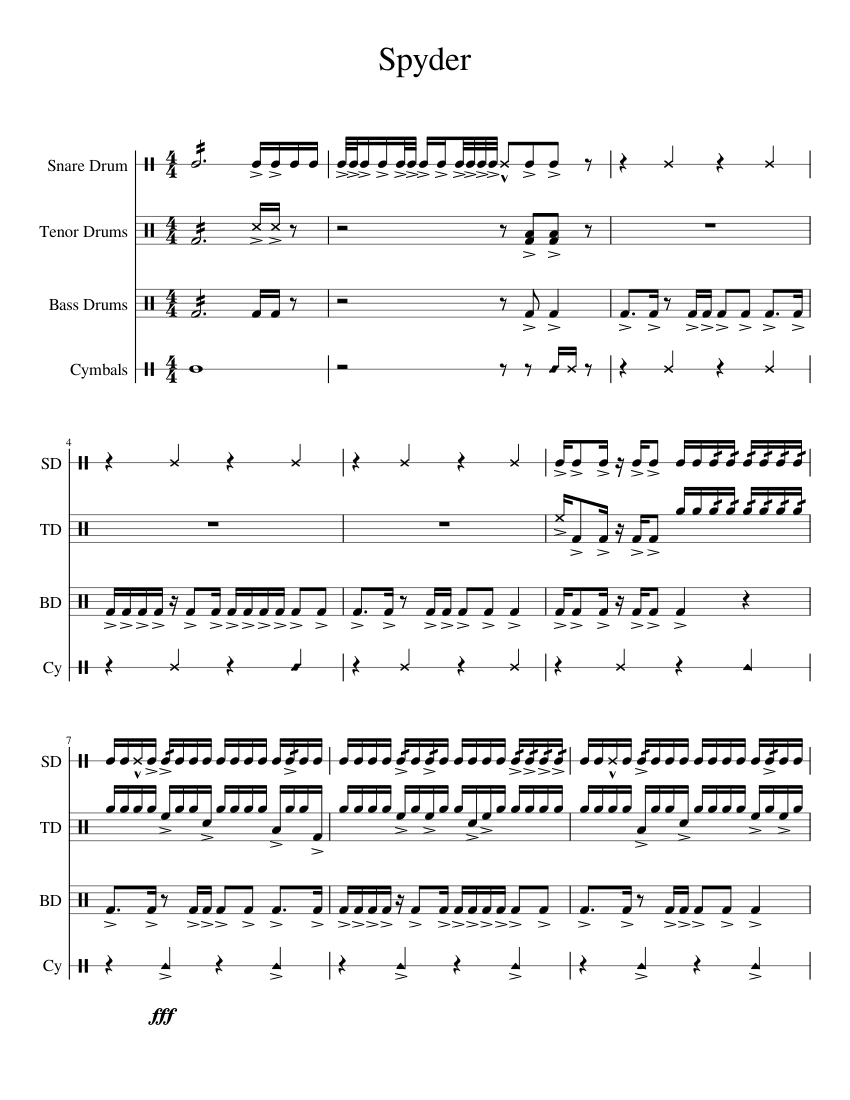 spyder sheet music for percussion download free in pdf or midi