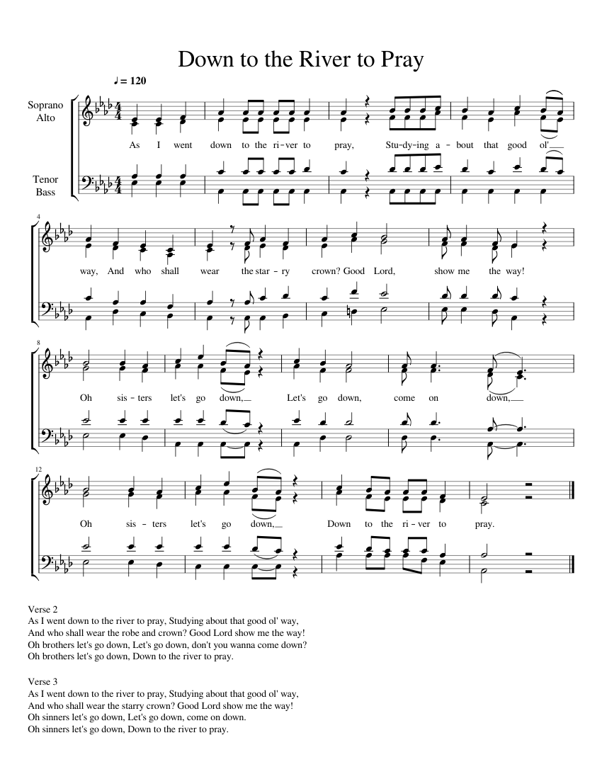 Down to the River to Pray  SATB  5 copies