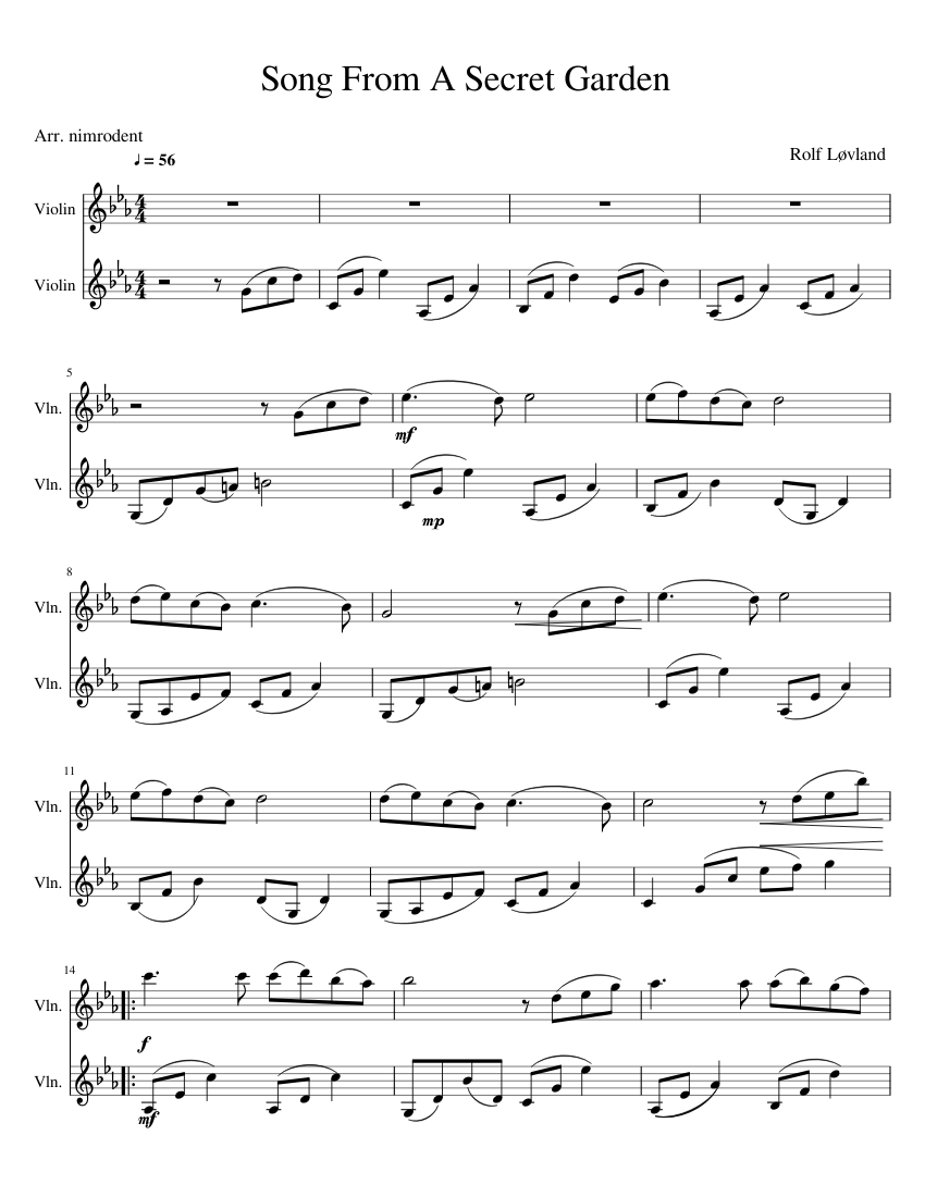 Song from a secret garden sheet music for violin, cello download.