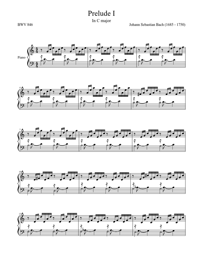 prelude i in c major, bwv 846 - well tempered clavier [first book] sheet  music for piano (solo)   musescore.com  musescore.com