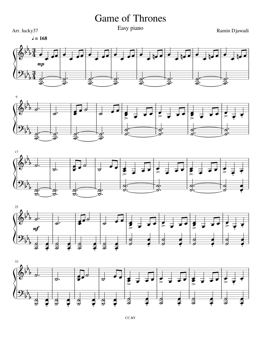 Game Of Thrones Easy Piano Sheet Music For Piano Download Free In