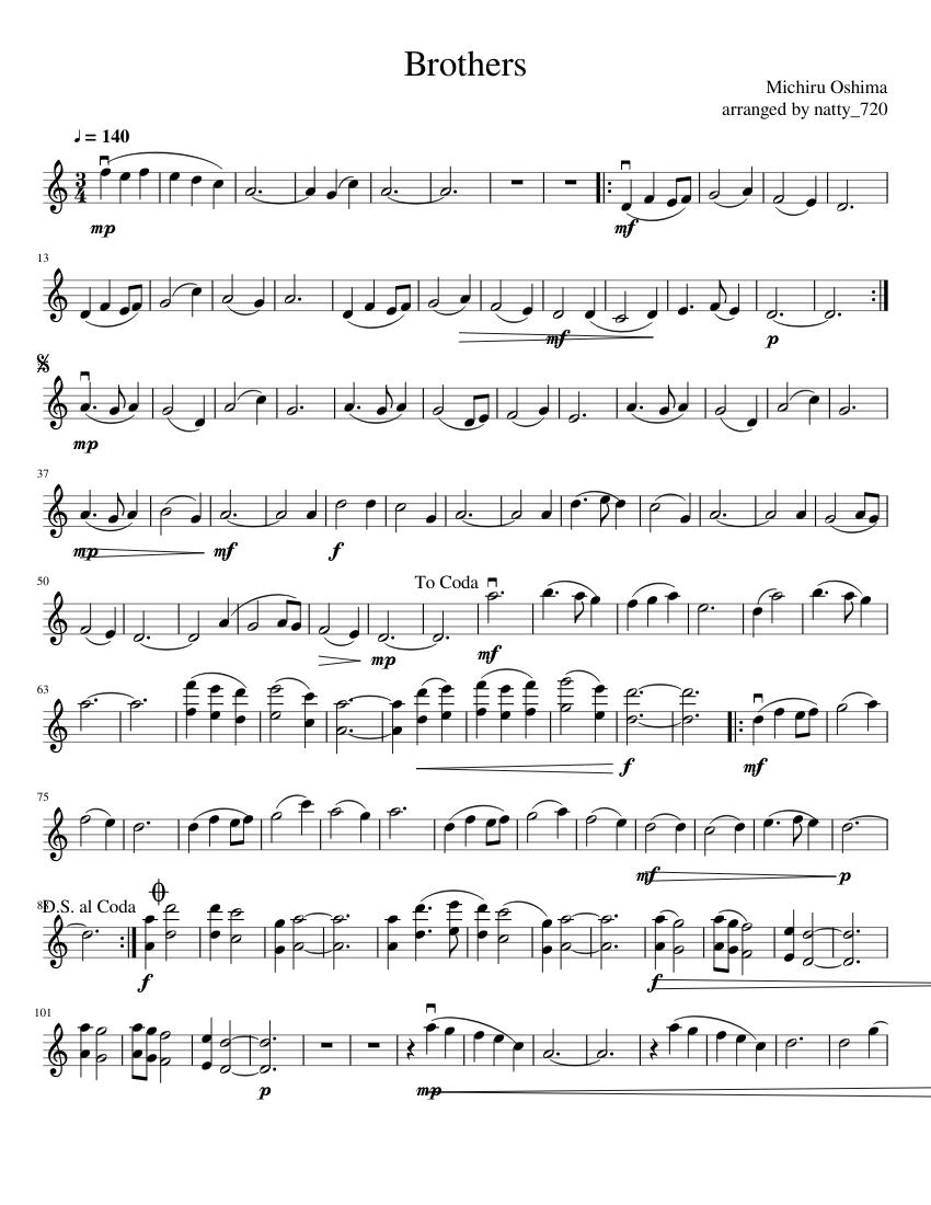 Bratja fullmetal alchemist sheet music download free in pdf or midi.