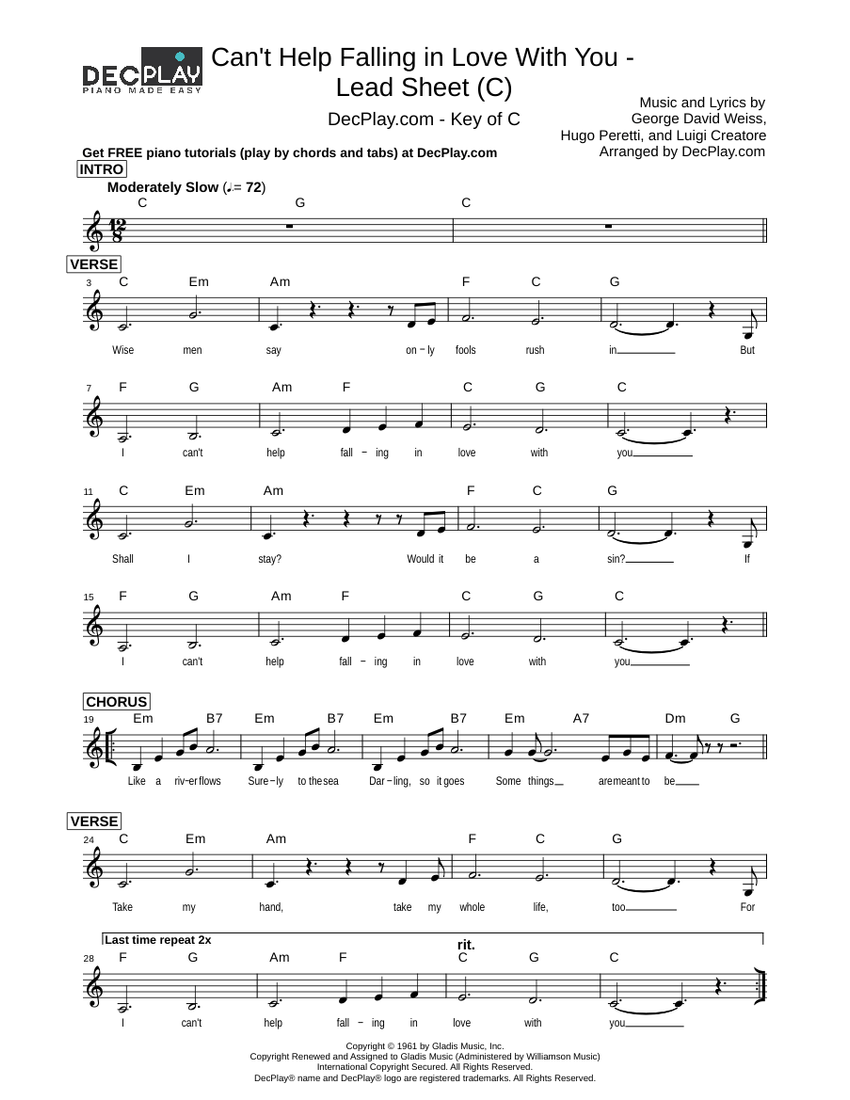 Can't Help Falling in Love With You   Lead Sheet C piano ...
