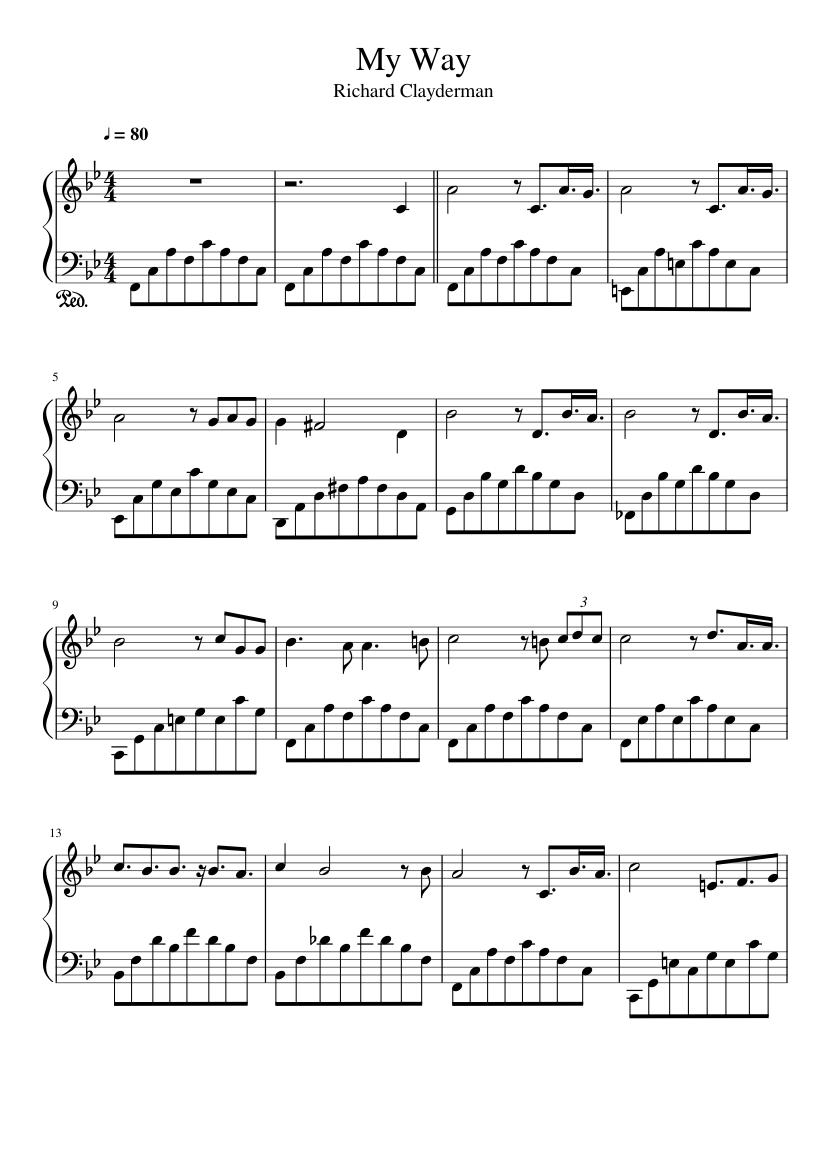 My Way Sheet Music For Piano Solo Musescore Com