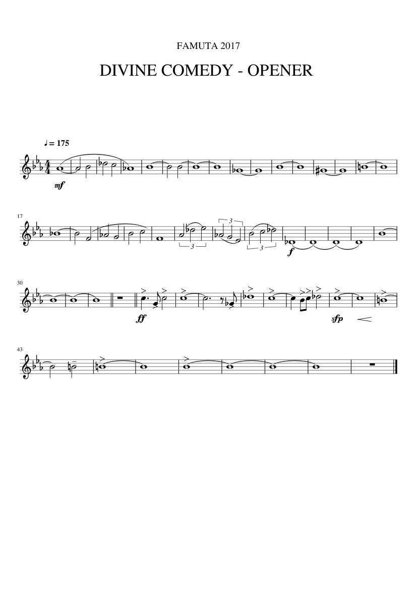 Divine Comedy Opener Sheet Music For Trombone Download Free In Pdf