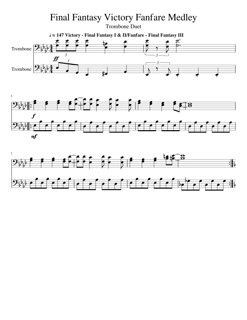Final fantasy victory fanfare (marching band) sheet music download.