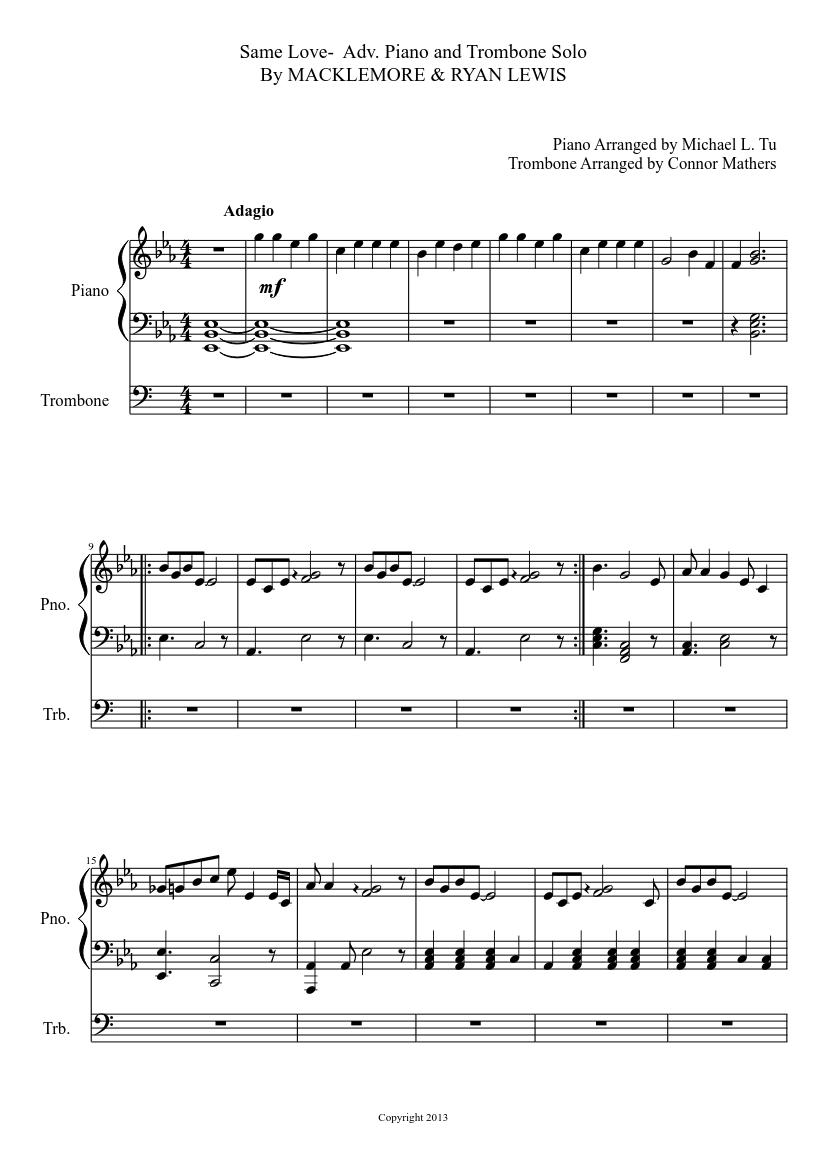 Alto sax same love macklemore & ryan lewis sheet music.
