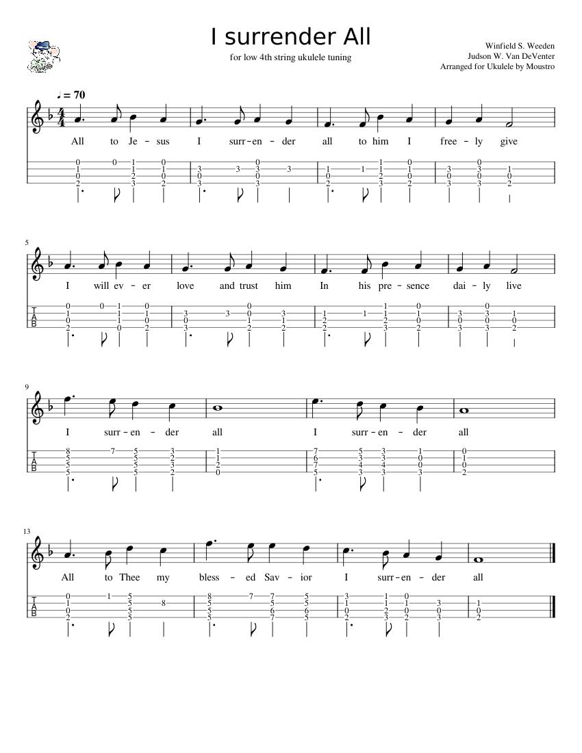 I Surrender All ukulele chord melody Sheet music for Ukulele ...