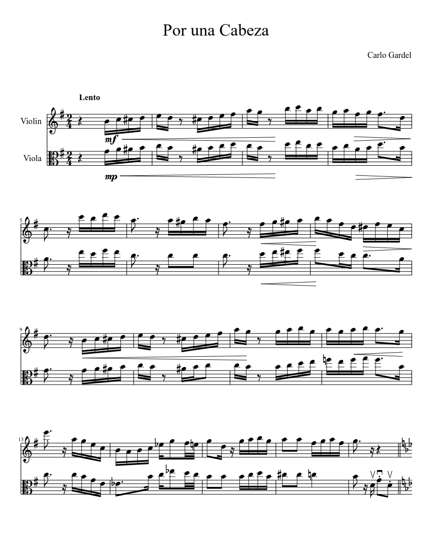 por una cabeza piano sheet music download