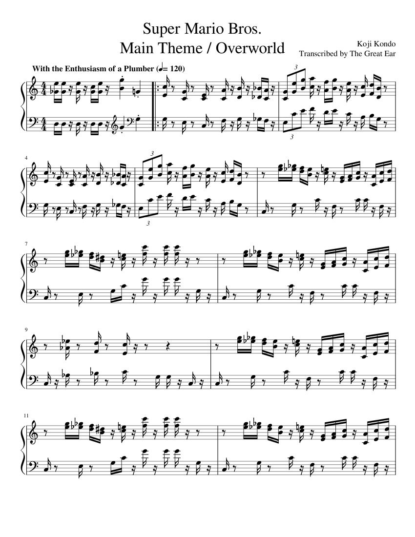 Super Mario Bros  - Main Theme / Overworld sheet music for Piano