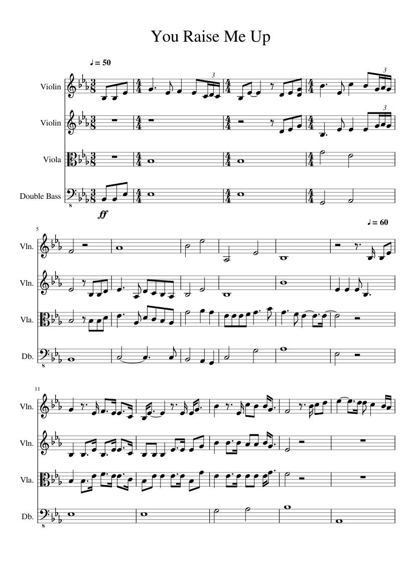 Download you raise me up string quartet sheet music by josh.