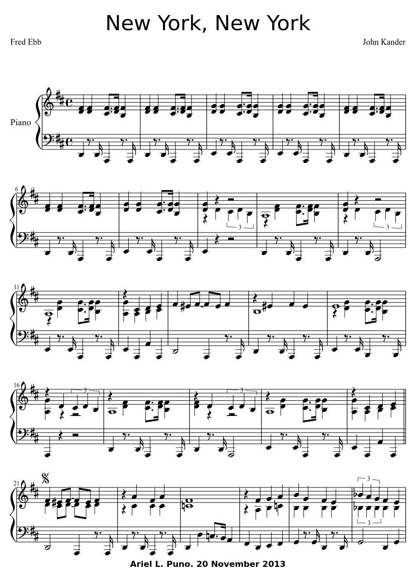 new york new york sheet music download free in pdf or midi
