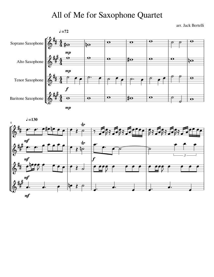 All Of Me Jazz Standard For Saxophone Quartet Sheet Music For