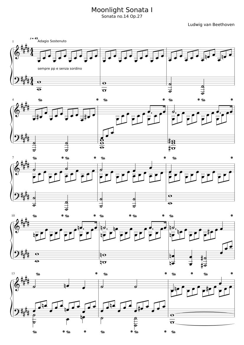 Pdf moonlight music sonata sheet