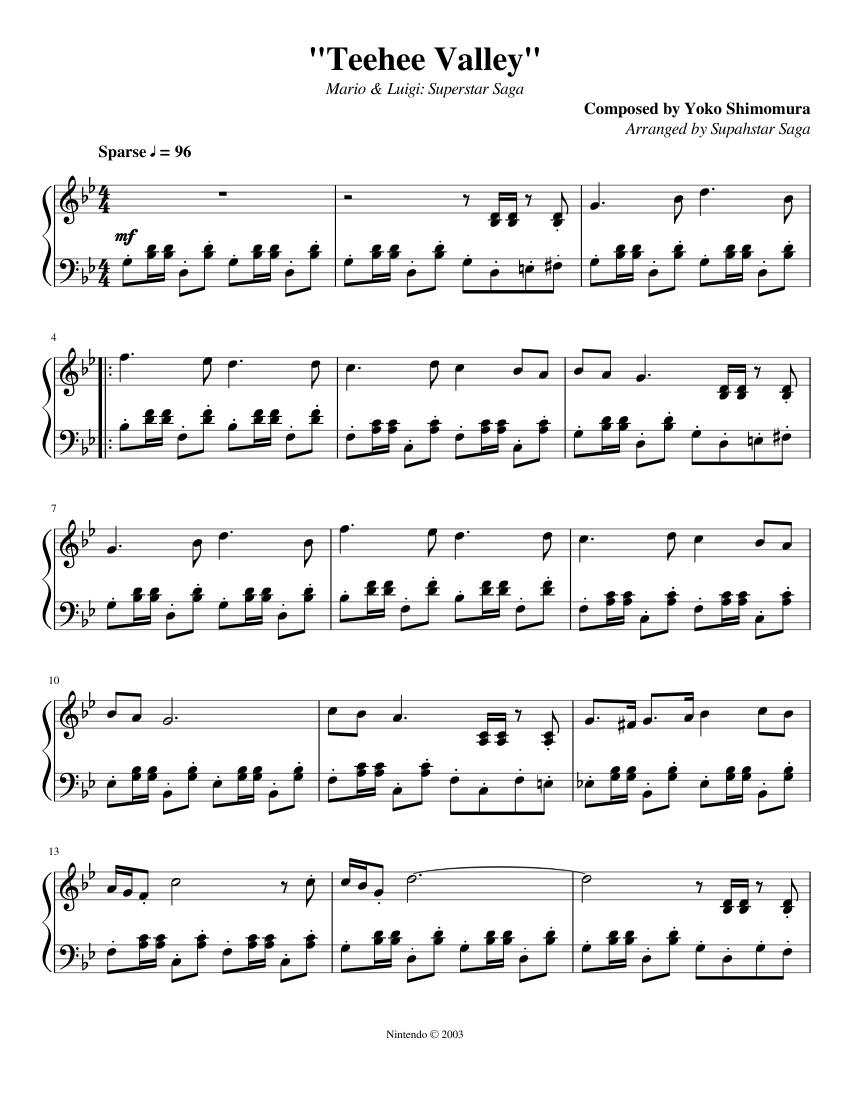 Teehee Valley Mario Luigi Superstar Saga Sheet Music For Piano Solo Musescore Com