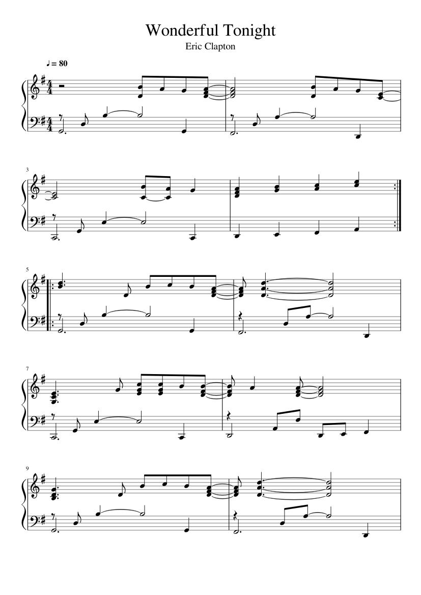Eric Clapton Wonderful Tonight piano sheets