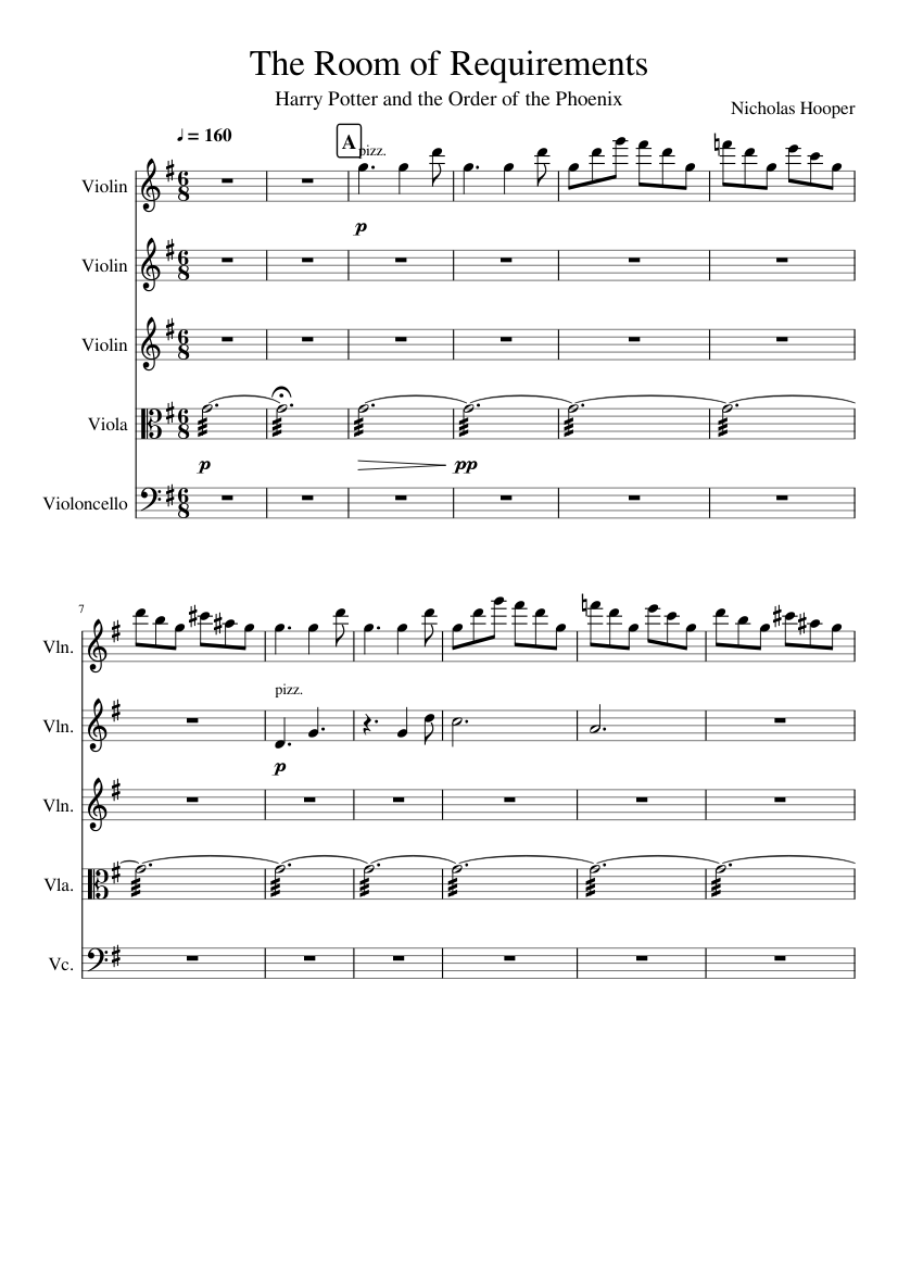 The Room Of Requirements Harry Potter And The Order Of The Phoenix Sheet Music For Violin Cello Viola Mixed Quintet Musescore Com