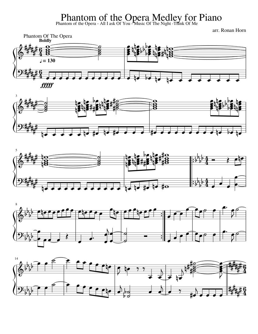 Phantom Of The Opera Sheet Music Pdf