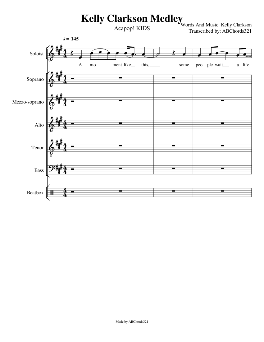 Wip Kelly Clarkson Medley Acapop Kids Sheet Music For Piano Drum Group Soprano Tenor Alto Mixed Ensemble Download And Print In Pdf Or Midi Free Sheet Music Musescore Com