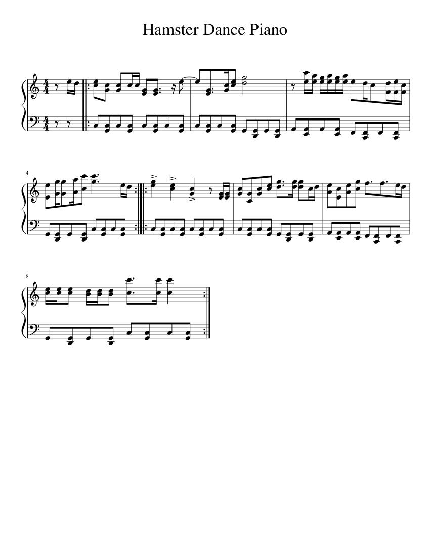 Hamster Dance Piano Sheet Music For Piano Solo Musescore Com