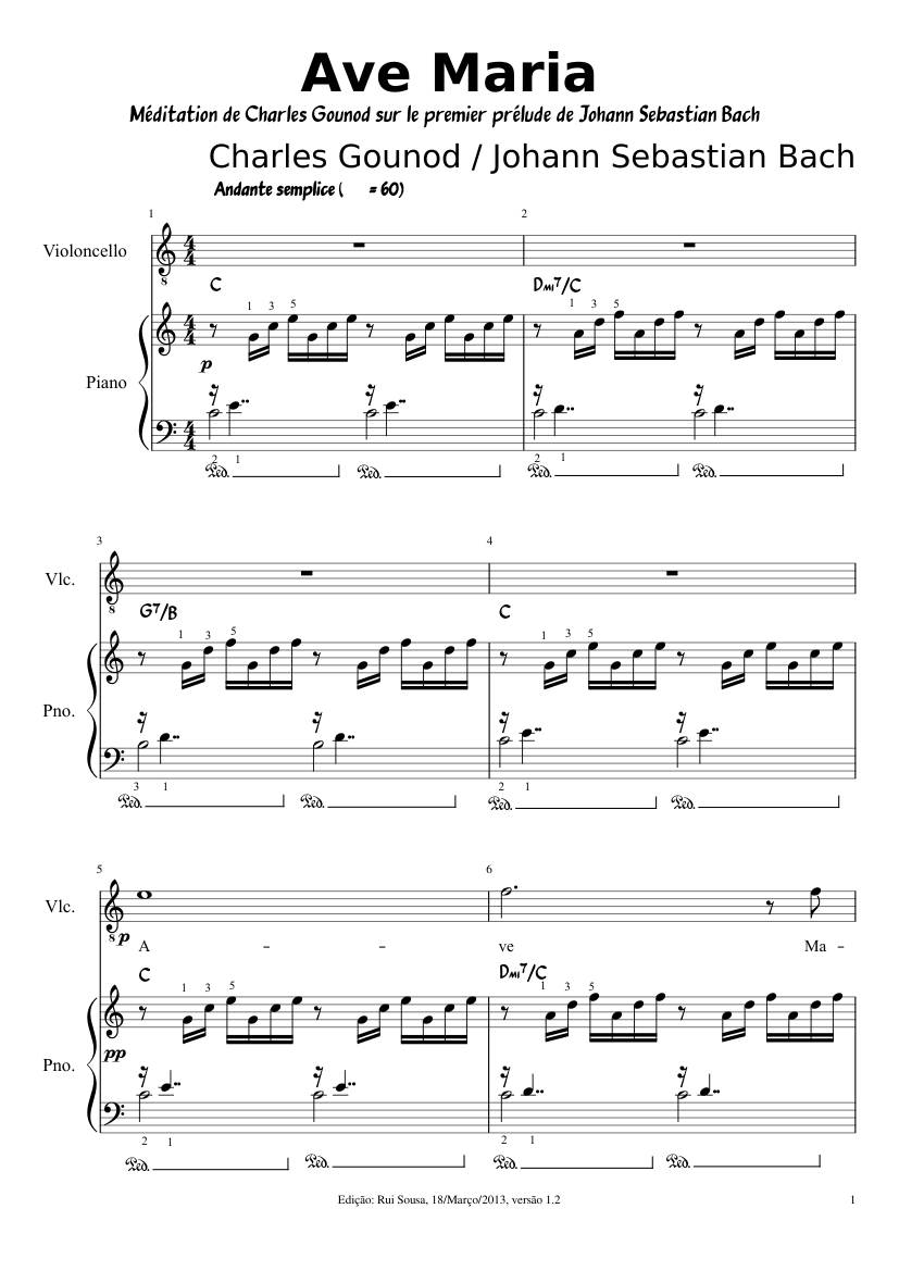 Ave maria for cello (bach gounod) sheet music download free in pdf.