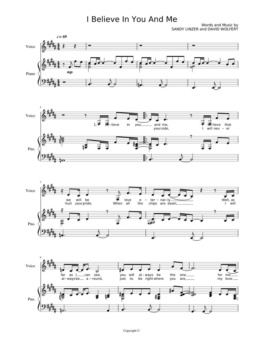 Whitney Houston I Believe In You And Me Sheet Music For Piano Voice Other Piano Voice Musescore Com Whitney houston my love is your love when you believe (feat. i believe in you and me sheet music for