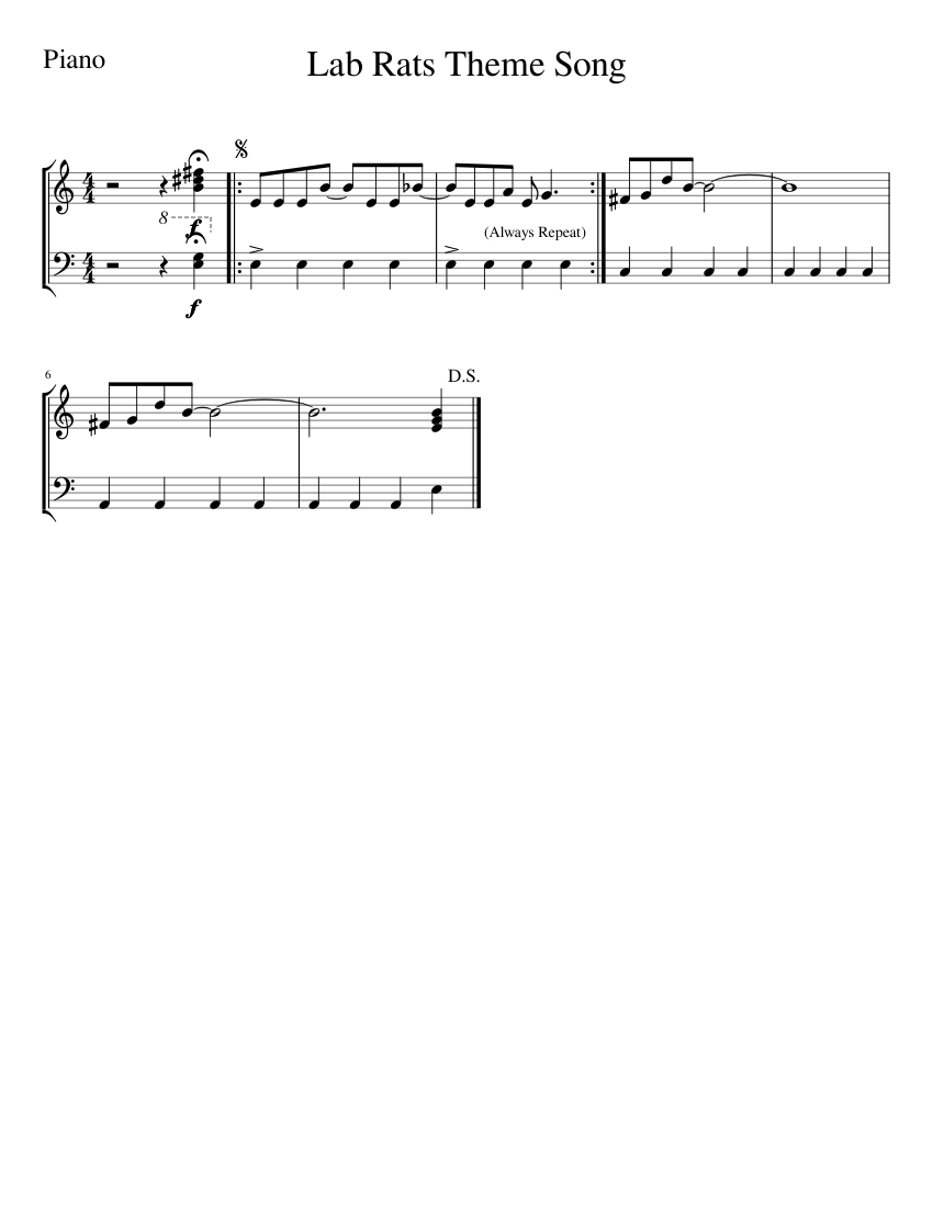 Lab Rats Theme Song sheet music for Piano download free in PDF or MIDI