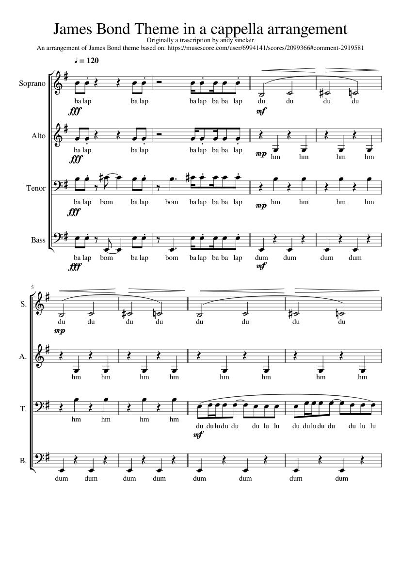 Norman james bond theme sheet music for piano four hands [pdf].