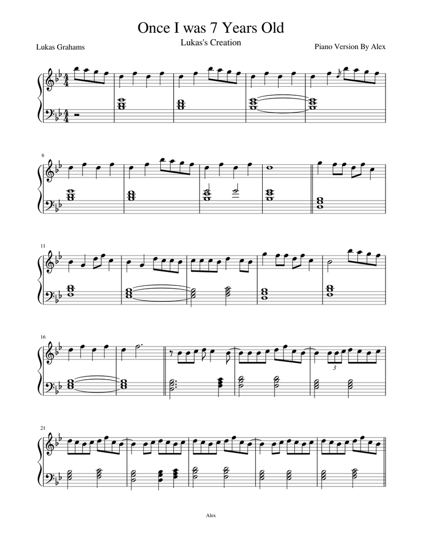 Once I Was 7 Years Old Sheet Music For Piano Solo Musescore Com