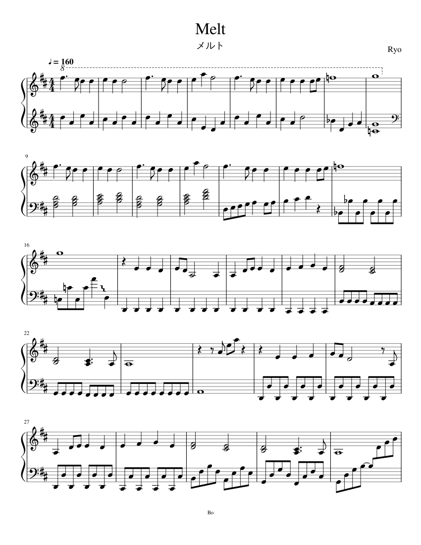 Melt sheet music composed by Ryo – 1 of 4 pages