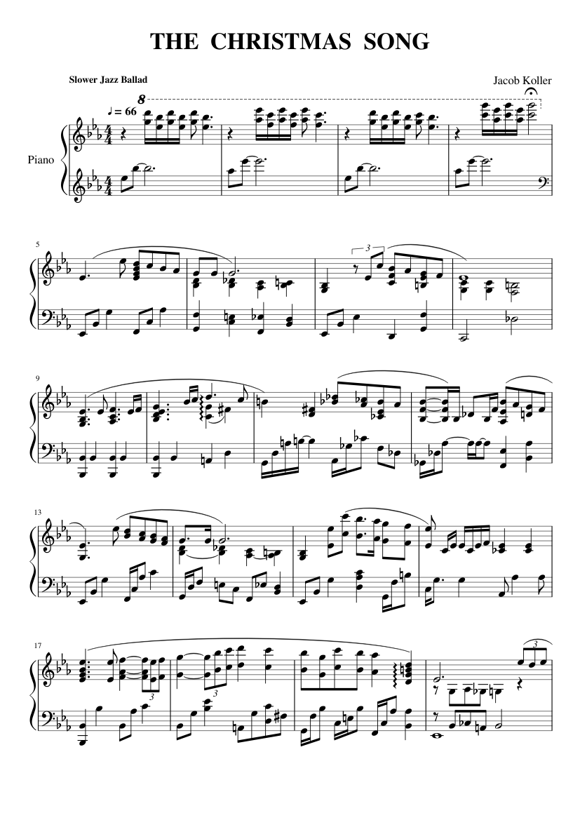 THE CHRISTMAS SONG sheet music for Piano download free in PDF or MIDI