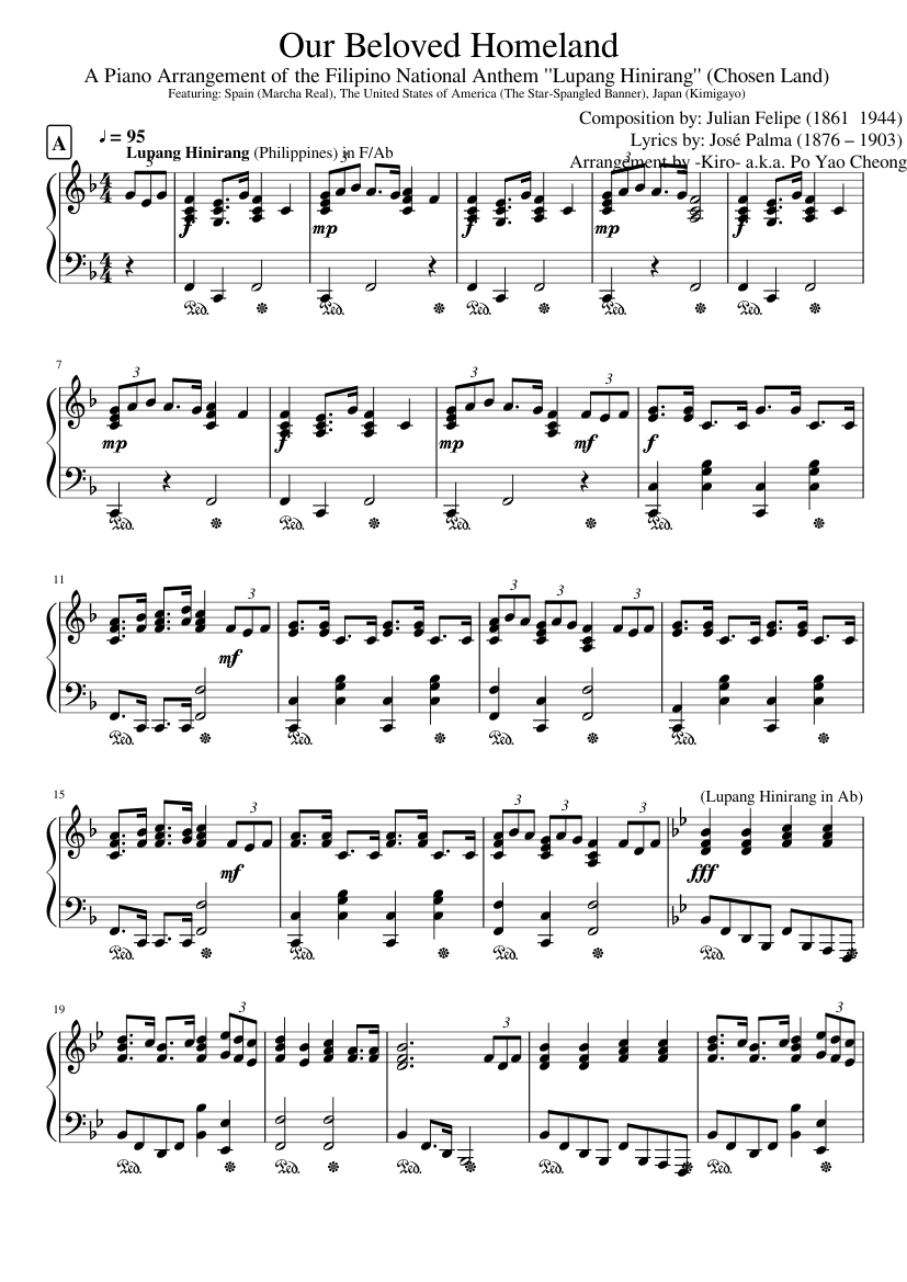 Philippines national anthem sheet music for piano download free in.