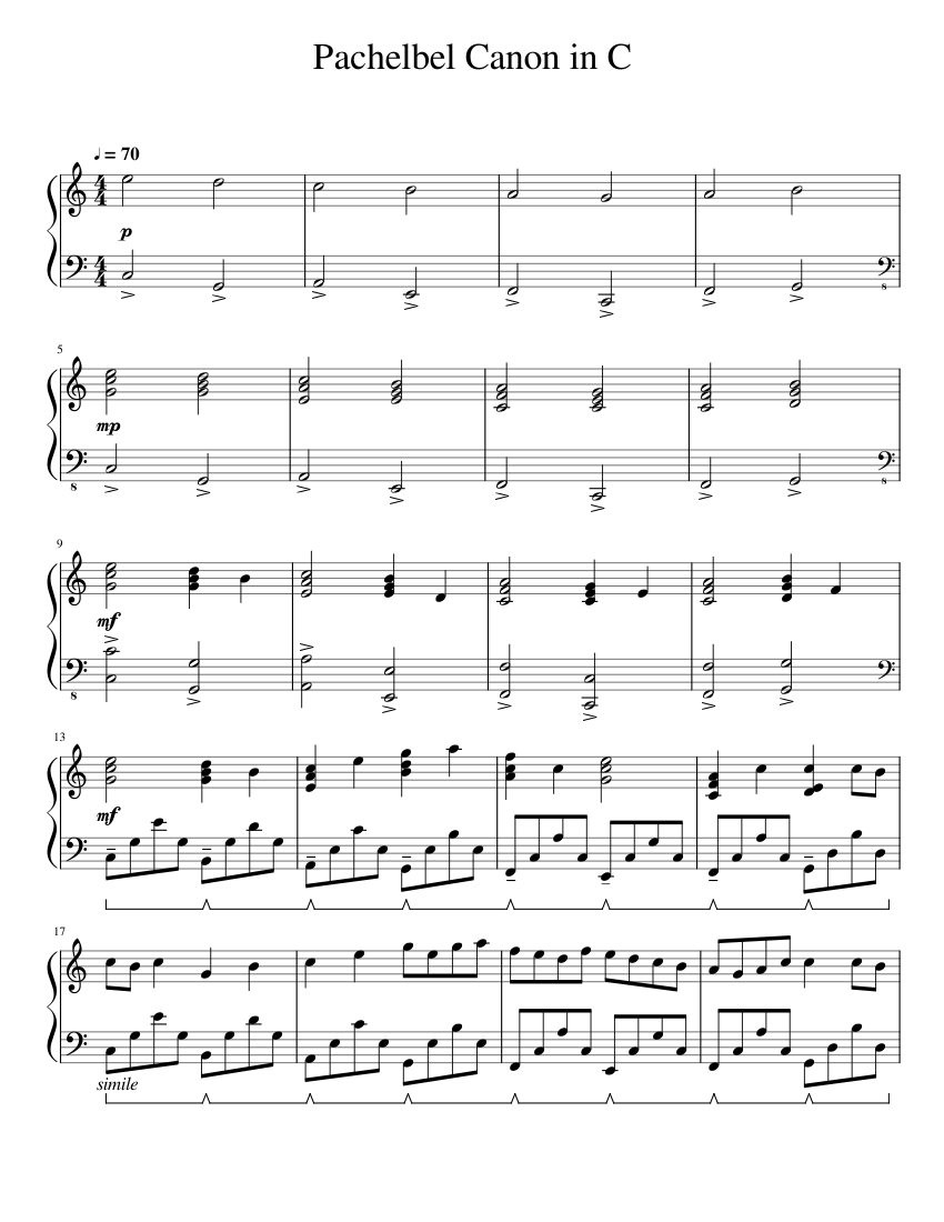 Pachelbel Canon in C Piano Sheet music for Piano Solo ...