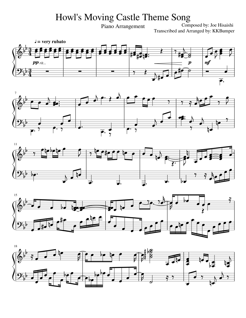Howl's Moving Castle Theme Song sheet music composed by Composed by: Joe Hisaishi Transcribed and Arranged by: KKBumper – 1 of 2 pages