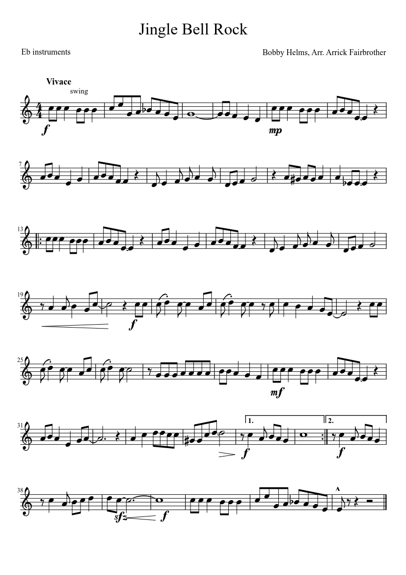 Jingle Bell Rock sheet music for Piano download free in ...