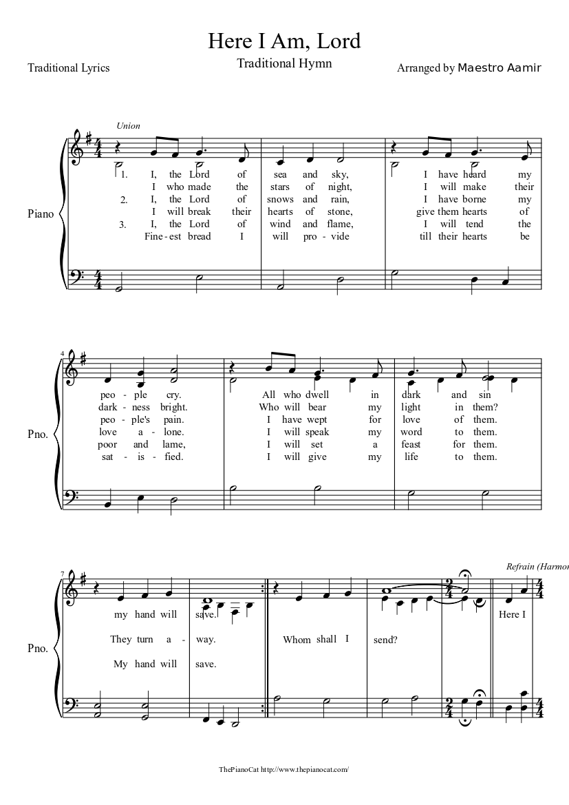 Here I am, Lord Sheet music | Download free in PDF or MIDI