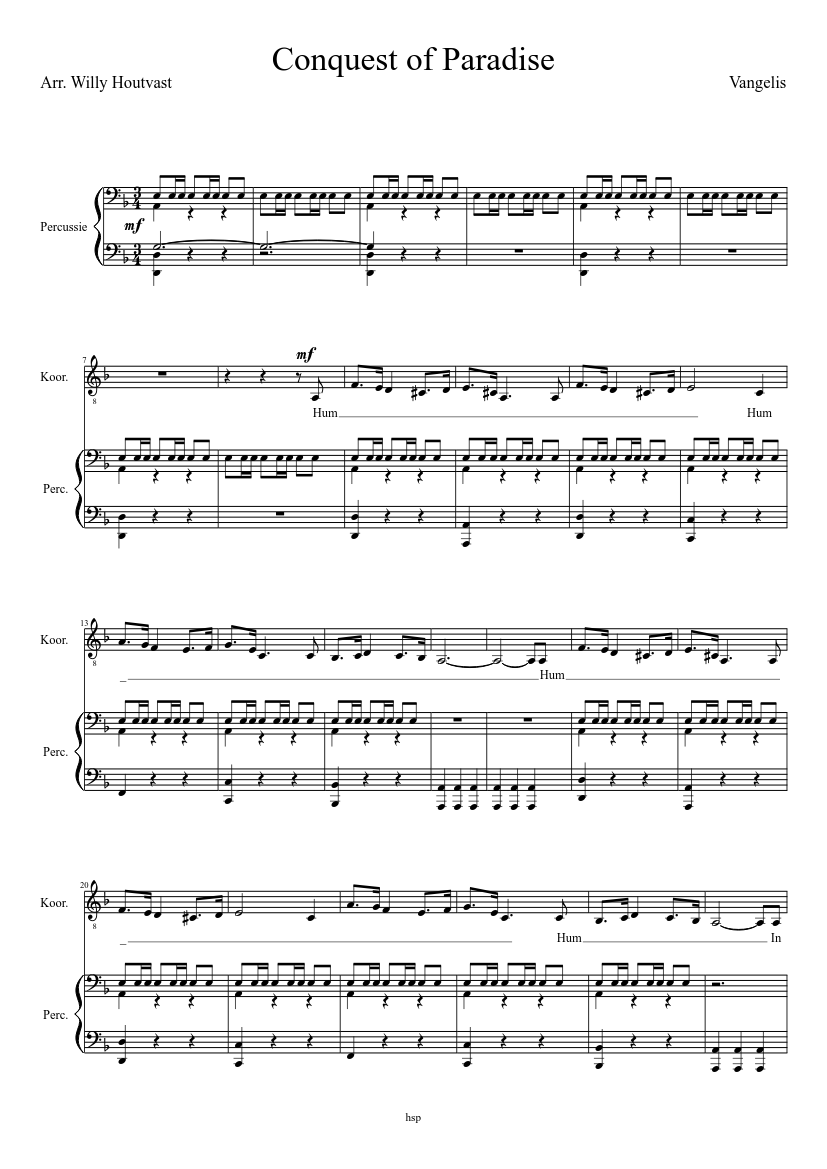 P11 conquest of paradise, bas sheet music for piano download free.