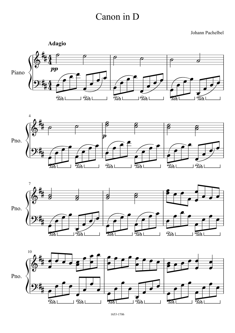 canon in d piano sheet music free