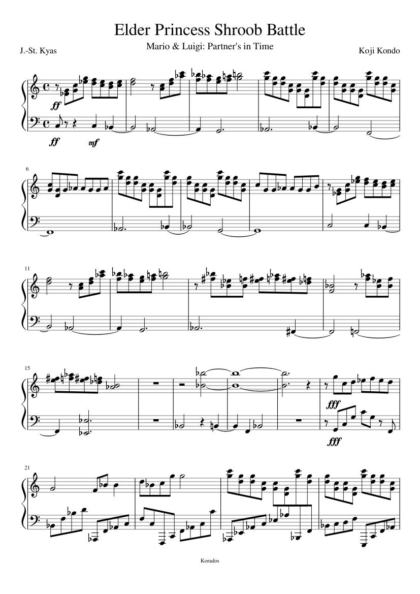 Elder Princess Shroob Batle Theme Sheet Music For Piano Solo