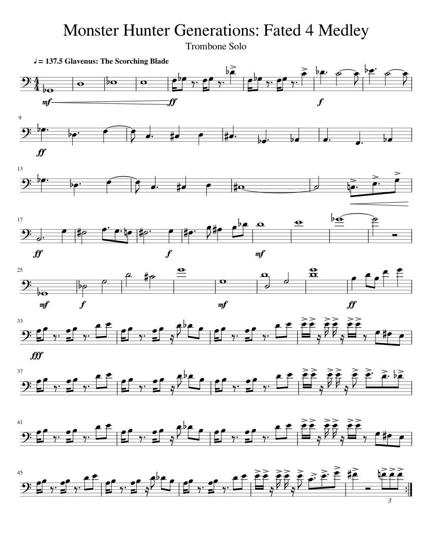 mhgen fated 4 medley - trombone solo sheet music for trombone (solo) |  musescore.com  musescore.com